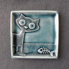 Кошка кольцо блюдо ручной работы фарфора небольшой по RuthRobinsonCeramics