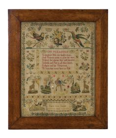 Lot 181: 19th c. School Girl Sampler. On website. On website. Labeled as coming from my house. On hand-written receipt.