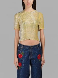ASHISH ASHISH WOMEN'S GOLD SPARKLING CROPPED TOP. #ashish #cloth #tops