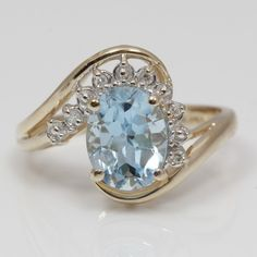 14K Yellow Gold, Blue Topaz and Diamond Ring #EBTH