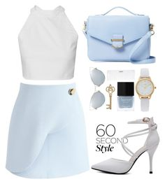 """""""PASTEL ELEGANCE"""" by tamarasimic ❤ liked on Polyvore featuring Chicwish, Cynthia Rowley, Vivani, Conair, Butter London, asymmetricskirts and 60secondstyle"""