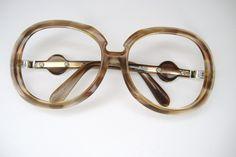 Vintage Silhouette Big Lens Brown Marble by Vintage50sEyewear
