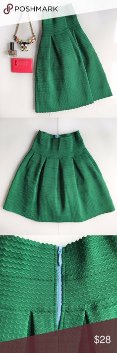 "Anthropologie - Girls From Savoy - Green Skirt Anthropologie's Girls From Savoy - Green Skirt  Size small 20.5"" length Light blue zipper in the center back.  It's an adorable touch! 76% polyester, 24% elastane Machine wash Excellent condition  All items come from an extremely clean and organized house - my mom taught me well!!  Non-smoker. No pets.  No trades please Anthropologie Skirts"