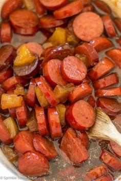 Glazed Hawaiian Kielbasa - Sprinkle Some Sugar *add bell pepper and onion and serve over rice