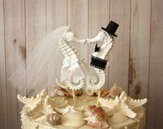 HIPPOCAMPE Wedding Cake Topper mariée marié cake par misunbridal