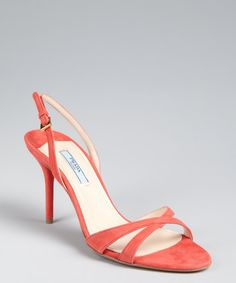 Prada coral suede slingback sandals | Sale of $372? Need an affordable alternative! Love these!