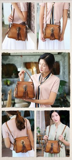 Full Grain Leather Tassel Handbag, Designer Bag, Women Shoulder Bag A0176