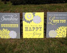 You Are My Sunshine Wall Art Flower Nursery Canvas Art Print Children Wall Art Personalized