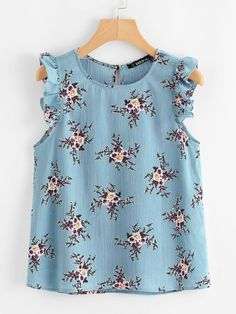 To find out about the Plus Ruffle Trim Floral Print Top at SHEIN, part of our latest Plus Size Blouses ready to shop online today! Plus Size Blouses, Plus Size Tops, Plus Size Dresses, Plus Size Women, Plus Size Outfits, Blouse Designs, Plus Size Fashion, Fashion News, Fashion Dresses
