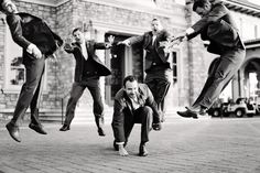 Groomsman photography pose. Groom. Black and white. Fun wedding photography ideas.