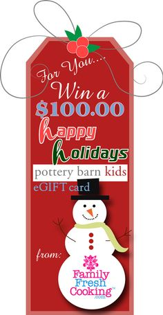 Pottery Barn Kids eGIFT Card Giveaway on FamilyFreshCooking.com