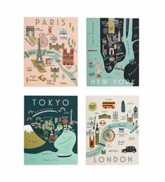 Rifle Paper Co. - City Maps - Set Of 8 Folded Cards, 2 Of Each Design