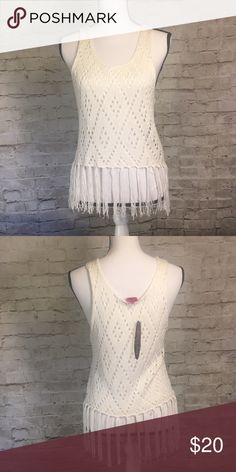 NWT Demanding by Say What? Crochet Fringe Top Great find for a festival top! Perfect addition to a spring and summer wardrobe.   I love to bundle, find everything you like in my store and bundle it up, make an offer, you might be surprised!  F12 Say What? Tops Tank Tops