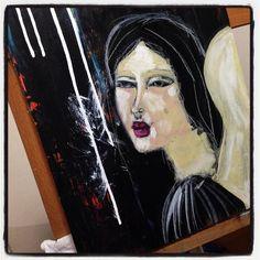 Start of a new painting.  #mixedmedia #portrait #whimsical #angel #artinspiration #irisimpressionsart #beabitmoreyou