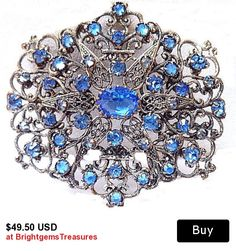 Art Nouveau Brooch Pin Blue Rhinestones Silver Metal  Floral Filigree Work C Clasp BIG 2 3/4 in Vintage