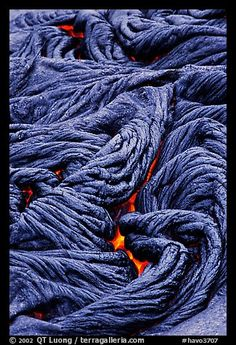 Braids of flowing pahoehoe lava. Hawaii Volcanoes National Park, Hawaii