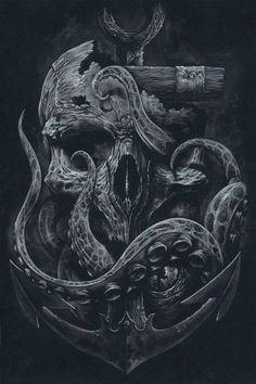 skull back tattoo & skull back tattoo . skull back tattoo men . skull back tattoo female . skull back tattoos for guys . skull back tattoo design Octopus Tattoos, Skull Tattoos, Body Art Tattoos, Tattoo Drawings, Sleeve Tattoos, Cool Tattoos, Sea Tattoo Sleeve, Anchor Sleeve Tattoo, Octopus Tattoo Sleeve