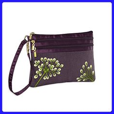 3 Zip Wristlet Pouch - Embroidered Dandelion (Plum - Bronze) - Wristlets (*Amazon Partner-Link)
