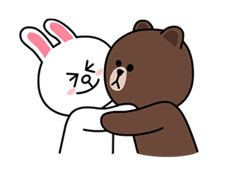 Line Brown Bear, Brown Line, Emoji Wallpaper, Disney Wallpaper, Line Cony, Cony Brown, Love Cartoon Couple, Sweet Love Quotes, Cute Love Gif