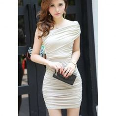 $7.86 Sexy One-Shoulder Solid Color Ruffle Design Slimming Fit Party Summer Dress For Women