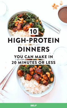 27 High-Protein Dinners You Can Make In 20 Minutes Or Less Coming home after a long day is when all of the Veruca Salt vibes happen. Sure, a slow-cooked stew or an elaborate chicken dish sounds totally amazing, Healthy High Protein Meals, High Protein Dinner, Protein Lunch, High Protein Low Carb, Healthy Soup Recipes, Healthy Eating, Protein Dinners, Protein Cake, Protein Muffins