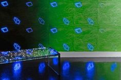 Led wallpaper by Ingo Maurer. Made from a large electronic circuit board printed on paper, this geometric LED Wallpaper changes its colors from white to blue to red, and you can choose the design it illuminates.    Read more: Ingo Maurer Unveils Innovative Geometric LED Wallpaper | Inhabitat - Sustainable Design Innovation, Eco Architecture, Green Building