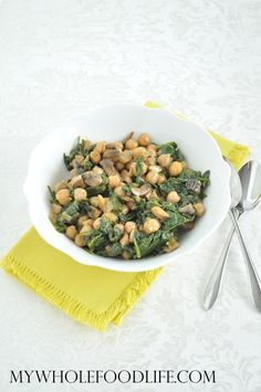 Spinach Chickpeas and Mushroom.  A super easy side dish.  Serve over quinoa for a complete meal.  Vegan and gluten free.