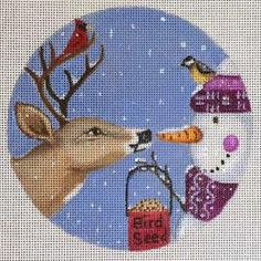 A Nenah Stone needlepoint ornament canvas of a reindeer and snowman called Temptation. The christmas ornament design is professionally handpainted onto 18 mesh canvas and measures 5 in diameter. It is a quick and easy needlepoint project. Needlepoint Stitches, Needlepoint Patterns, Needlepoint Canvases, Cross Stitch Patterns, Needlework, Christmas Cross, Christmas Ornaments, Needlepoint Christmas Stockings, Hand Painted Canvas