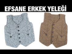 Kırçıllı iple örülen ve tasarımı çok şık olan erkek çocuklar için cepken yelek modeli kesinlikle beğeneceğiniz türden. Kolay bir örüm şekli var. Parçalı şekilde örülmekte ve sonradan birleştirilmekte. Crochet For Kids, Crochet Baby, Baby Boys, Odd Molly, Hairstyle Trends, Bowling Shirts, Moda Emo, Baby Vest, Yarn Shop
