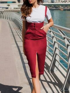 Mar 2020 - Red Cotton Shoulder Strap Split Front Women Bodycon Dress – chiclookcloset Sneakers Fashion Outfits, Dress With Sneakers, Prom Dress Shopping, Online Dress Shopping, Tight Dresses, Casual Dresses, Sexy Dresses, Summer Dresses, Formal Dresses