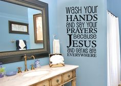 Jesus and germs are everywhere $25.00, via Etsy (I wish my kids had their own bathroom so I could use this!)