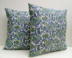 Pillow Covers Blue Green 16x16 Paisley Throw Accent Decorative Set of 2  Cotton Home Decor 16 inch. $29.00, via Etsy.