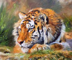 Tiger Wildlife Art Painting by David Stribbling, UK Artist