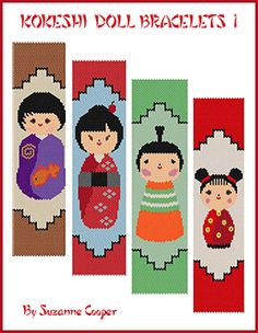 Kokeshi Doll Bracelets Pattern 1 at Sova-Enterprises.com