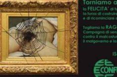 Il famoso dipinto di Gustave Coubert 'L'origine del mondo', ma con i genitali femminili coperti da una ragnatela e accompagnati dalle seguenti frasi: 'Torniamo alle origini, alla felicita' di fare impresa (...) Togliamo la 'ragnatela', contro il m...