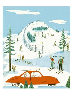 Ski Hill Scene Art Print by Pop Ink - CSA Images at Art.com