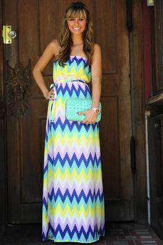 Chevron Me Crazy Maxi Dress: Multi | Hope's