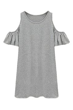 ROMWE | ROMWE Off-shoulder Falbala Grey Dress, The Latest Street Fashion