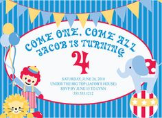 Printable Circus Birthday Party Invitation - PDF - Printable