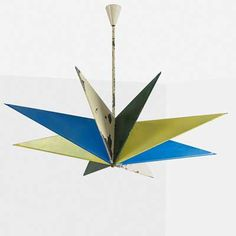 FRANCO BUZZI; ARTELUCE; Chandelier, Italy, 1940s; painted metal, brass, three sockets; Unmarked; To canopy: 29 1/2