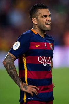 Dani Alves of FC Barcelona reacts after the Spanish Super Cup second leg match between FC Barcelona and Athletic Club at Camp Nou on August 17, 2015 in Barcelona, Catalonia.