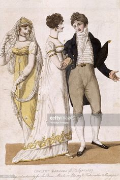 'Concert Dresses' from the September issue of the French fashion magazine, Le Beau Monde, 1807. (Photo by Museum of London/Heritage Images/Getty Images)