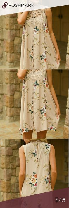 Floral Dress Classy, fabulous, and warm weather ready! Sleeveless floral print dress with deliberate crochet yoke and open slit on back with button closure. The flowy silhouette is flattering to the body. Pick the event and go with confidence. B-45 Dresses Midi