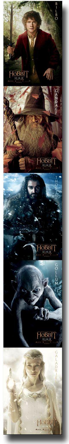Bilbo, Gandalf, Gollum, Thorin, Galadriel