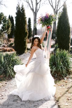 This floral-printed tulle ball gown wedding dress, appliqued with floral corded lace and beading, offers a fresh take on skirt drama: the floating tiered skirt is edged with wide horsehair trim for de Tulle Ball Gown, Tulle Dress, Ball Gowns, Tulle Wedding, Wedding Gowns, Wedding Bride, Wedding Beauty, Dream Wedding, Formal Dresses For Weddings