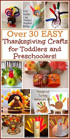 More than 30 easy Thanksgiving crafts that are perfect activities for toddlers, preschoolers and little kids! Love these ideas and tutorials.