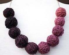 Kitten Necklace. Mystery Yarn Necklace, Purple Ombre Thread Ball Necklace, Bronze Chain with 10 Big Balls, Earthy Colors, Bib Necklace