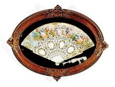 Victorian painted and inlaid ivory fan