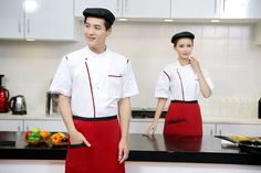 Summer Restaurant Restaurant Uniformed Skimmed Men And Women Similar Chef Uniforms Classic Restaurant Uniforms, Chef Work, Red Kitchen, Black White Red, Late Summer, Work Wear, Latest Fashion, Classic, Women