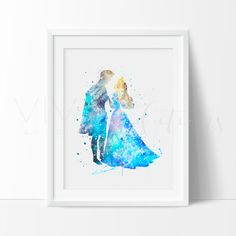 Princess Aurora & Prince Phillip Sleeping Beauty Watercolor Art. This art illustration is a composition of digital watercolor images and silhouettes in a minimalist style.